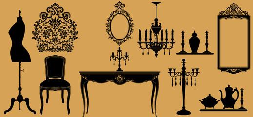 Vector illustration of original antique furniture collection