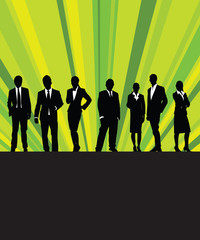 business people with a green ray background