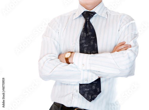 Businessman isolated on white background, space for head