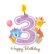 Happy Birthday Candle and Animals Isolated on white - 16775784