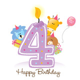 Fototapety Happy Birthday Candle and Animals Isolated on white