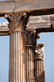 front view of Corinthian capitals of Olympian Zeus in Athens poster