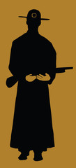 Cowboy silhouette on brown, vector illustration