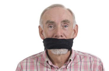 Old man with gag over mouth
