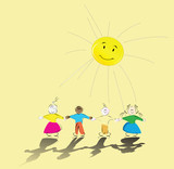 multiracial kids holding their hands and smiling sun poster