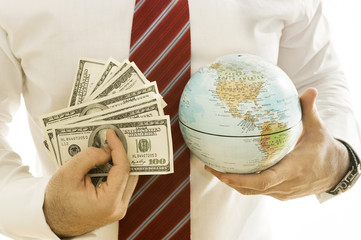 Business men with many banknotesand a globe