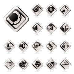 Simple Music and sound icons -  Vector Icon Set
