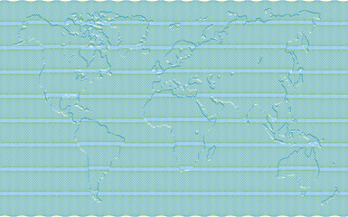Secured Guilloche diploma background with embossed world map