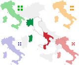 different vector pixel map and flag of italy. poster