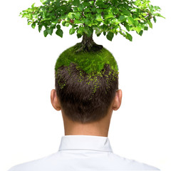 man with green tree growing on his head