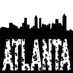 Atlanta skyline with grunge text