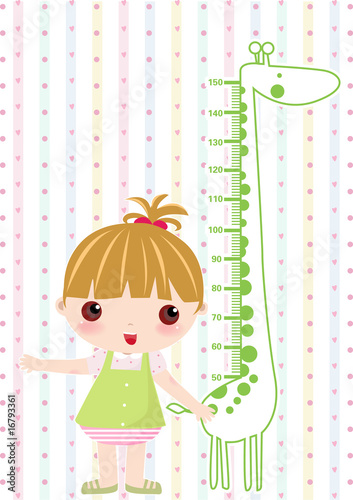 Fotobehang Hoogte schaal Kid girl scale hight