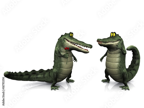 Cartoon crocodile couple.