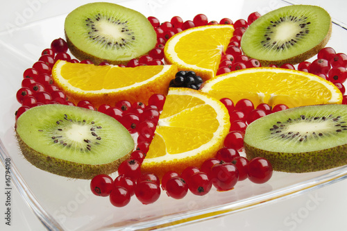 mixed fruit on a plate close up