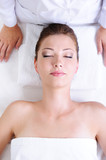Woman before spa procedures poster