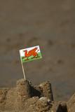 welsh flag in a sand castle poster