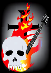 skull guitar rock