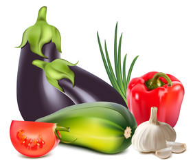 Vector. Colorful fresh group of vegetables.