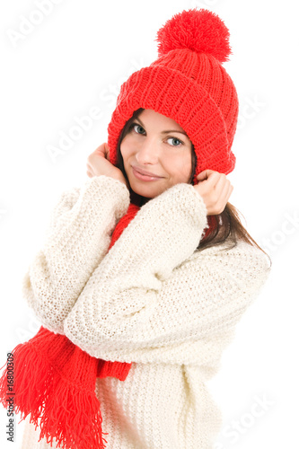 Woman wearing red scarf and cap