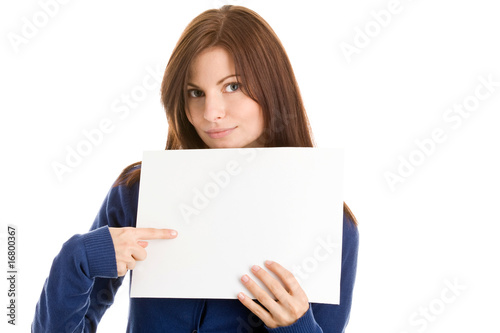 Student pointing at sheet with white copy space