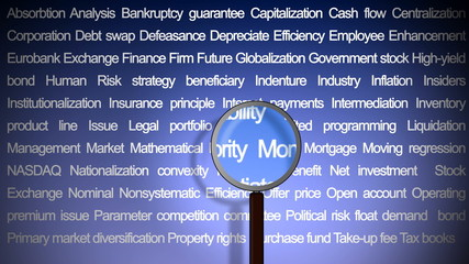 magnifying glass showing business concepts