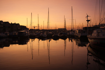 Beautiful sunrise in the harbor of Urk, the Netherlands