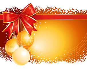 Gold Christmas background / with balls and bow