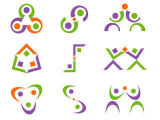 Business People Abstract Vector Logo Design Elements
