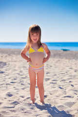 Funny girl on a beach