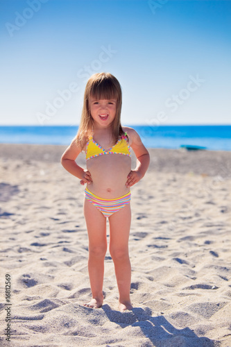 Funny girl on a beach