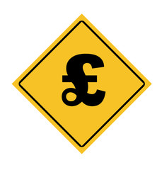 English pounds sterling road sign
