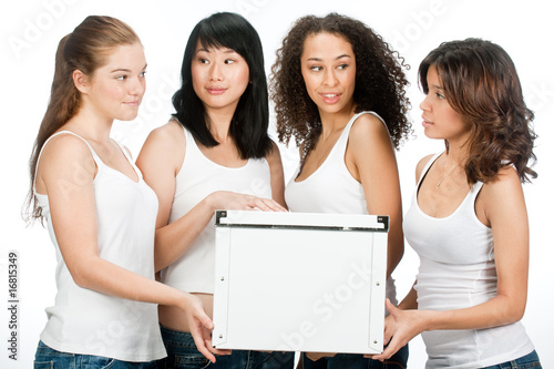 Diverse Teenagers with White Box