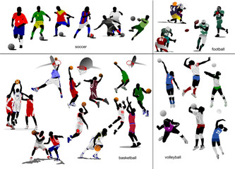 Games with ball. Soccer, football, basketball, volleyball