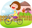 roleta: girl riding a bicycle