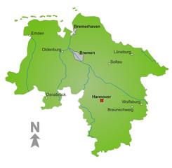 Karte Bundesland Niedersachsen und Bremen