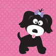 roleta: Black puppy girl on cool background