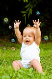 glad baby with soap-bubbles poster
