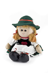 Rag doll in national (folk) Austrian costume isolated