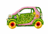 The ecological car on a white background - Fine Art prints
