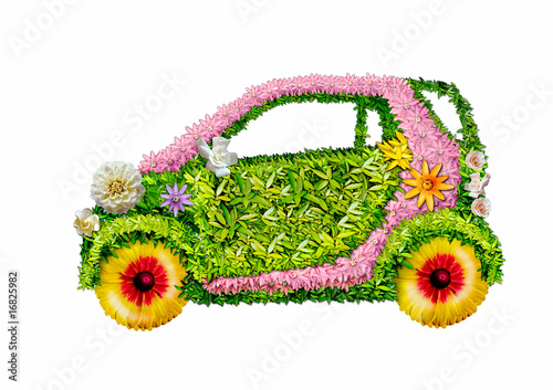 The ecological car on a white background