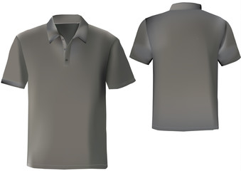 Black polo shirt design template with front and back. with mesh