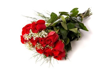 Bouquet or red roses on white