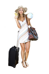 woman going on vacation with her credit card