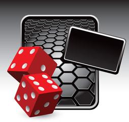 Red dice black hexagon banner
