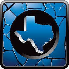 Texas icon blue cracked web button