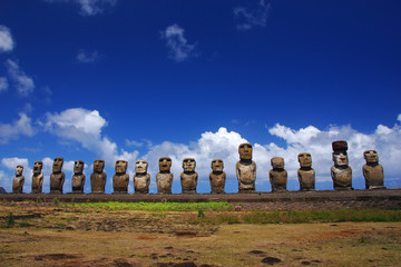 Moai at Ahu Tongariki on Easter Island, Chile