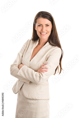 400 F 16845392 EJZyL54G43gUttZVF0eyAorTARk4ZAFe Elegant mature woman sitting with her arms and legs crossed.