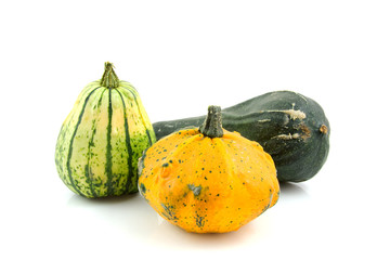 different kind of gourds over white background