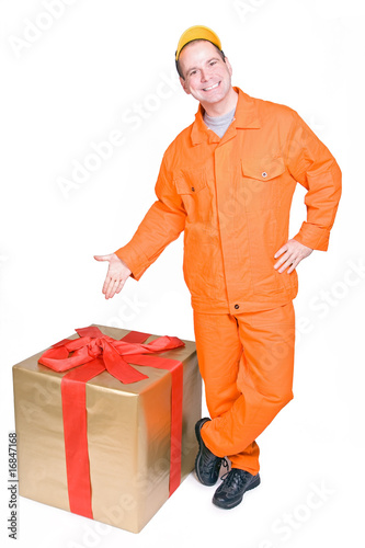 supplier and Christmas box isolated on white background