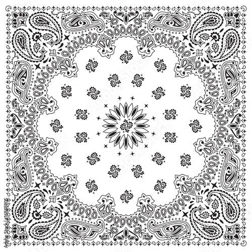 Black And White Paisley Bandana Pattern Bandana-white · Bandana-black